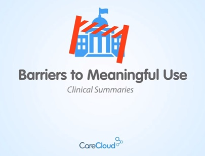 Barriers to Achieving Meaningful Use: Clinical Summaries