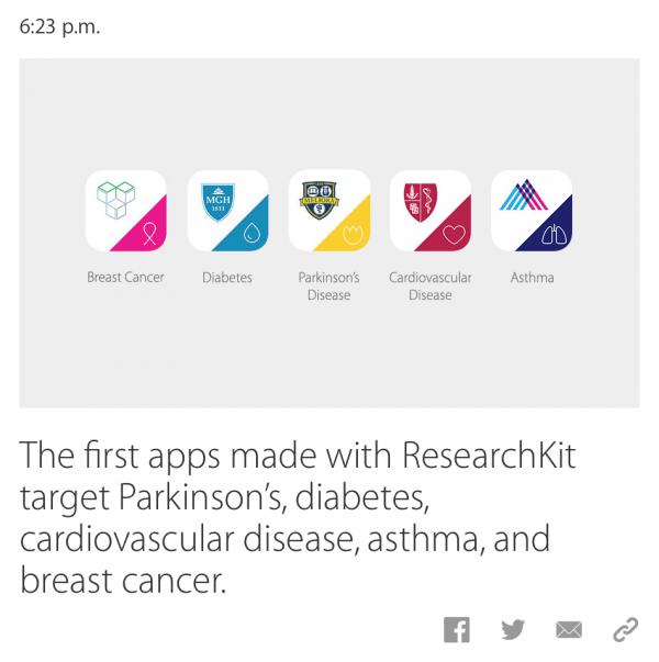 Apple ResearchKit Apps 1